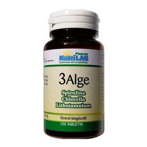 Nutrilab 3 Alge - Spirulina, Chlorella, Vörös alga komplex tabletta - 120db