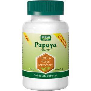 Zöldvér 100%-os papaya tabletta - 60+18db